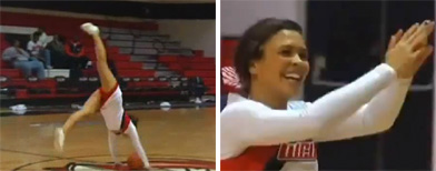 Cheerleader pulls off amazing trick shot