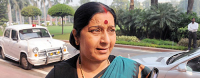 Twin blasts: Sushma Swaraj slams Govt