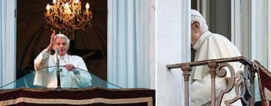 El papa Benedicto XVI abandonó el Vaticano el jueves y se dirigió a la residencia de verano, tras prometer obediencia incondicional al pontífice que lo suceda en la misión de dirigir a la Iglesia católica, que atraviesa uno de los períodos más críticos en sus 2000 años de historia. En la imagen, Benedicto XVI deja el balcón de Castel Gandolfo por última vez en su papado, el 28 de febrero de 2013. REUTERS/Max Rossi . Última bendición como sumo pontífice REUTERS/ Tony Gentile