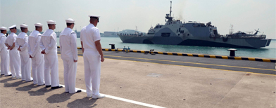 Amid rising tensions from N. Korea and China, U.S. deploys a massive warship to Southeast Asia.