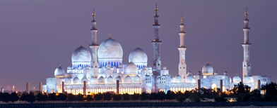 Dusk view of the Sheikh Zayed Grand Mosque in Abu Dhabi, capital of the United Arab Emirates. Photo: Eric Nathan / arabianEye.com