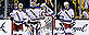 New York Rangers goalie Henrik Lundqvist, second from left, and teammates right wing Mats Zuccarello (36), defenseman Dan Girardi (5) and center Derick Brassard (16) react after the Boston Bruins scored their fifth goal during the third period in Game 2 of the NHL Eastern Conference semifinal hockey playoff series in Boston, Sunday, May 19, 2013. The Bruins won 5-2. (AP Photo/Elise Amendola)
