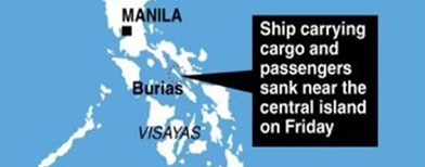 A ferry carrying 57 passengers and cargo sunk near the central island of Burias, the coast guard says.