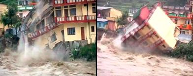 Shocking: Floods wash away building