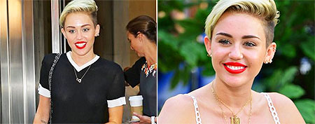 Miley dons two drastically different outfits