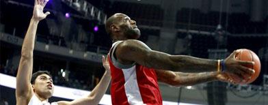 King James shows off hoops skills