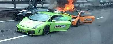 Three Lamborghini crash, go up in flames (Twitter)
