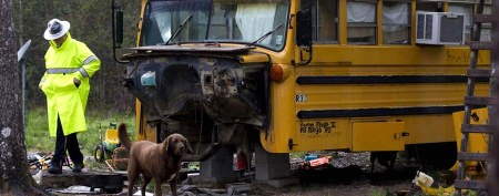 Family calls shabby school bus home