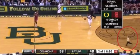 Little boy storms court during college game