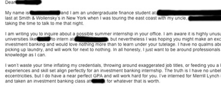 Student's blunt cover letter wins kudos