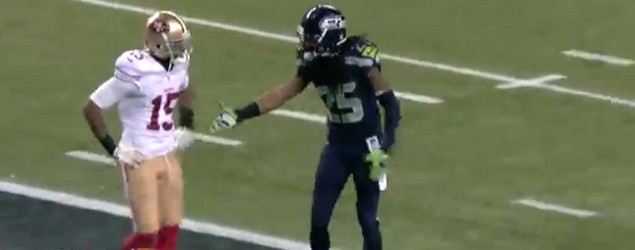 Richard Sherman approaches Michael Crabtree after the interception (NFL.com)