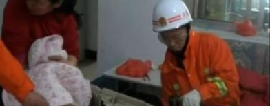 Toddler trapped inside washing machine