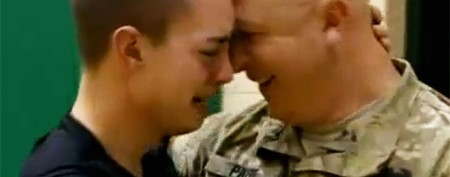 Emotional reunion for soldier and teen son