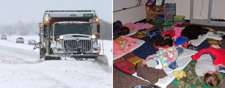 Snow strands kids overnight in school