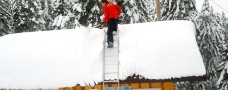 The easiest way to shovel snow off a roof