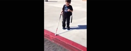 Blind 4-year-old takes giant step on his own