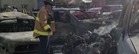 Fiery crash at Florida airport parking lot