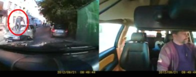 On cam:A man kicks the windshield!