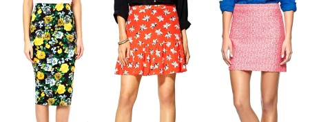 Floral- and graphic-print skirts for spring