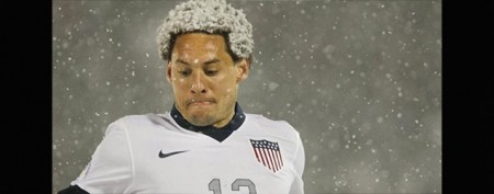 Snowstorm creates wild scene at U.S. match