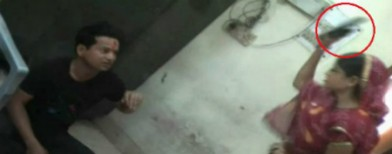 Woman beats ex-husband at police station