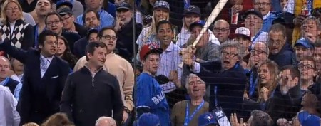 MLB fan's great reaction to bat in stands