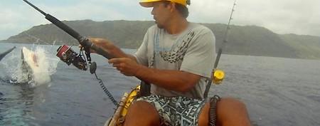 Huge shark takes kayak angler by surprise