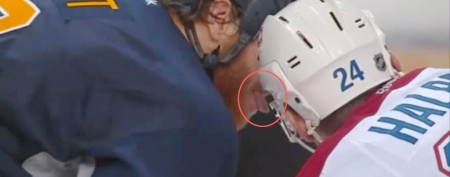 Hockey player's creepy move in game