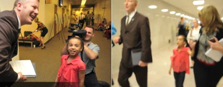 Girl protests by following senator around