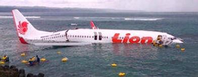 Plane crash-lands into sea in Bali