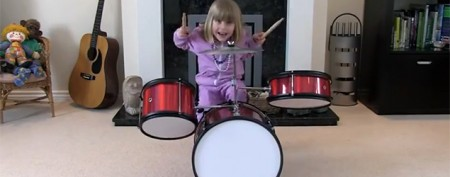Charming sisters show off drum skills