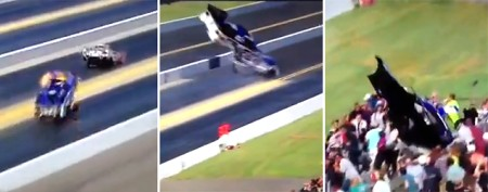Scary scene: Funny car body flies into stands
