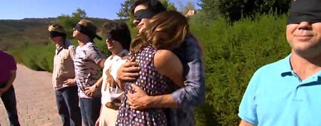 Ladies' questionable tactics in hugging contest