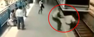 Caught on cam: A man and a speeding train