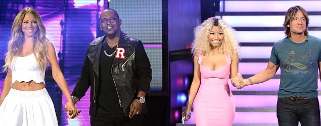 (L-R) Judges Mariah Carey, Randy Jackson, Nicki Minaj, and Keith Urban. (FOX via Getty Images)