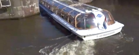 Boat captain slides into tight turn without a pause