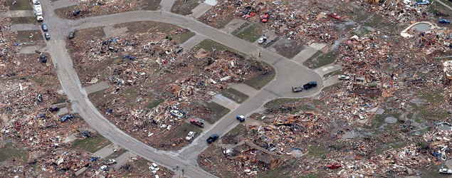 An aerial view shows an entire neighborhood destroyed by a tornado in Moore, Oklahoma. (Tony Gutierrez/AP)