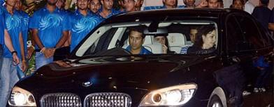 Mumbai Indians celebrate with Ambanis
