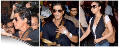 SRK heads home with sexy hand sling