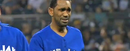Veteran ballplayer leaves field in tears