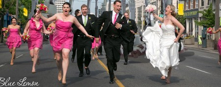 This wedding party has good reason to run
