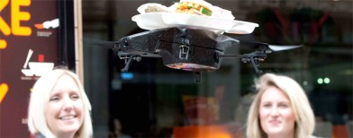 A flying tray that delivers food