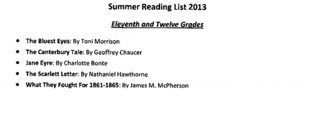 Embarrassing summer reading list
