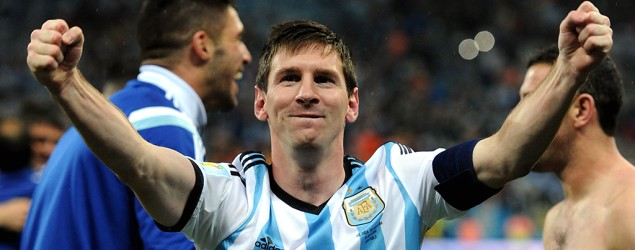 Argentina's Lionel Messi celebrates his team's semifinal win to move onto the World Cup Final with Germany.