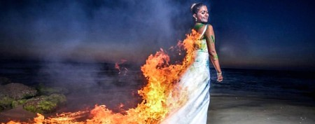 Yes, this bride really set her dress on fire