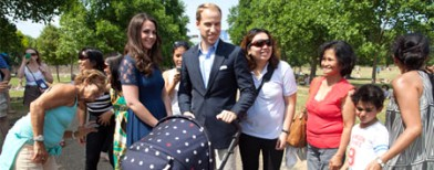 Royal baby goes for a stroll