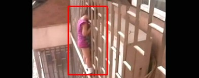 Girl dangles from 24th floor balcony