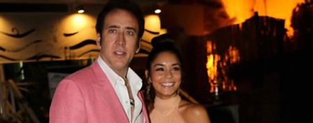 Nicolas Cage is daring in bright pink suit