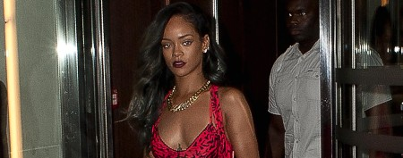 Rihanna rocks fierce leopard print catsuit