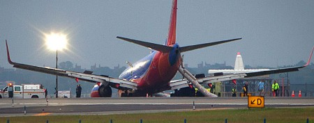 Confusion, fear as plane's nose gear collapses